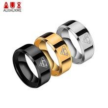 Auxauxme clássico titanium aço superman anel de aço/ouro/preto 8mm casamento bandas logotipo anel moda masculino anel eua tamanho 6-13