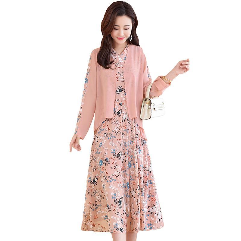 2020 Spring Autumn New Women Loose Long Sleeve Coat With Floral Print A-Line Chiffon Dress Sets Female Chic Retro 2pcs Set J189