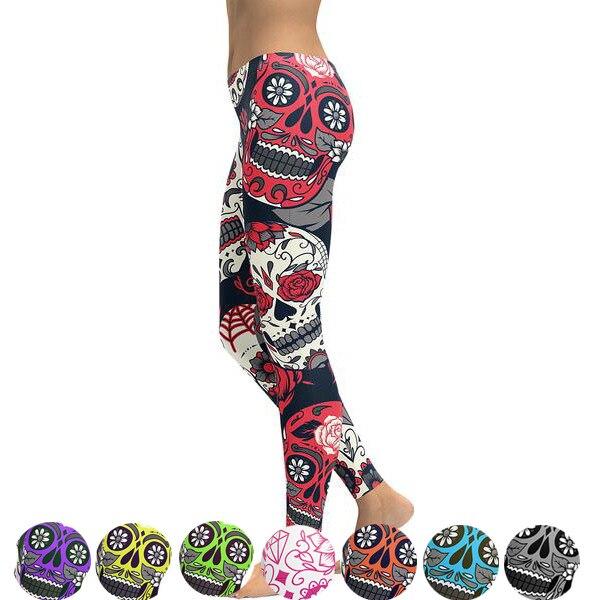 Neue Heiße Elastische Workout Leggings Frauen Floral Schädel Druck Plus Größe Fitness S Outfit Leggings Rot Lila Gelb Grün Blau