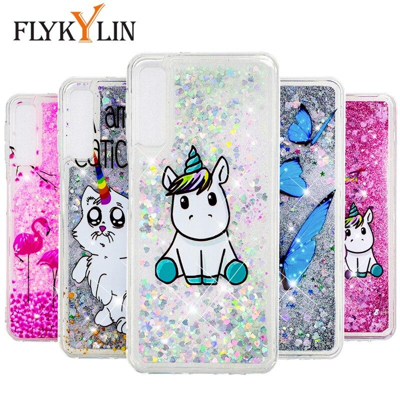 FLYKYLIN Líquido Glitter Case Para Samsung Galaxy A60 A10 A20 A30 A50 A70 M10 M20 M30 Dinâmica Capa de Silicone Macio anti-knock Coque