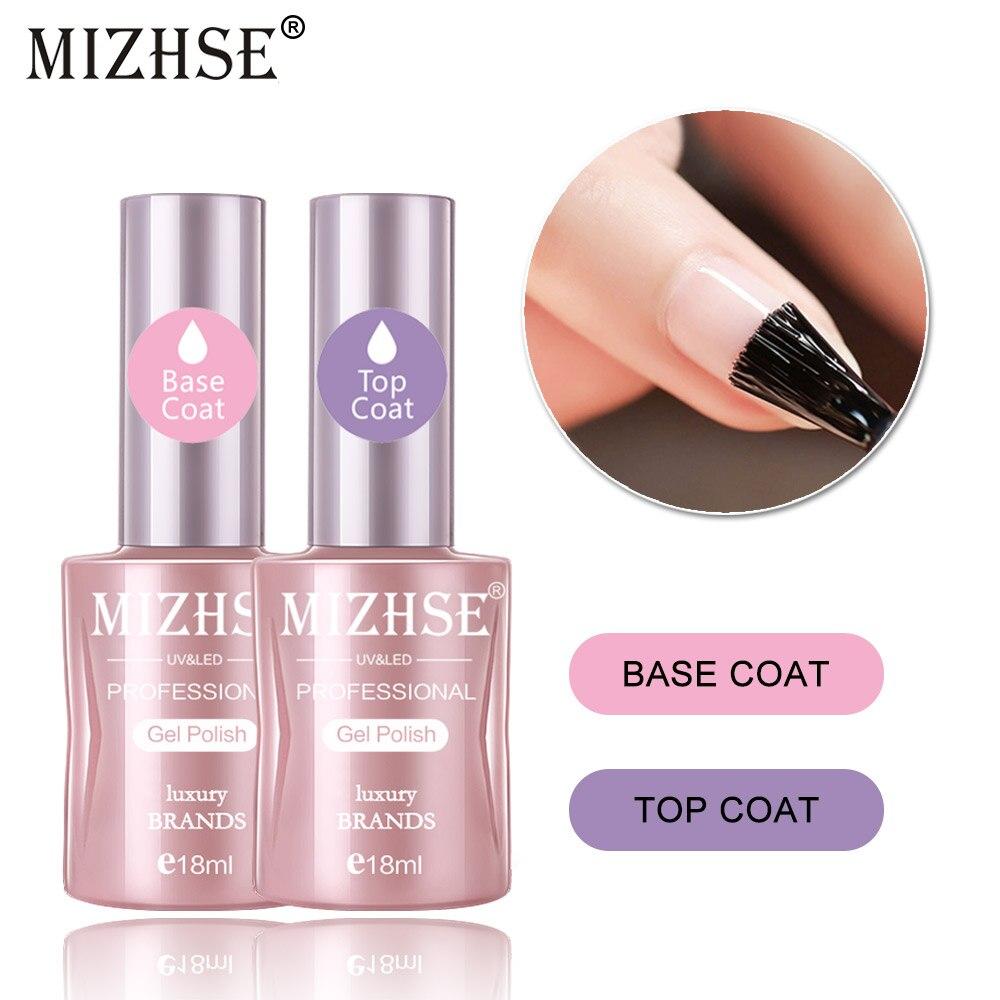 MIZHSE 18ML 2 unids/lote capa superior para base LED UV pintura base de esmalte de Gel larga duración Gel esmalte de uñas en Gel Shilak claro acabado Gel