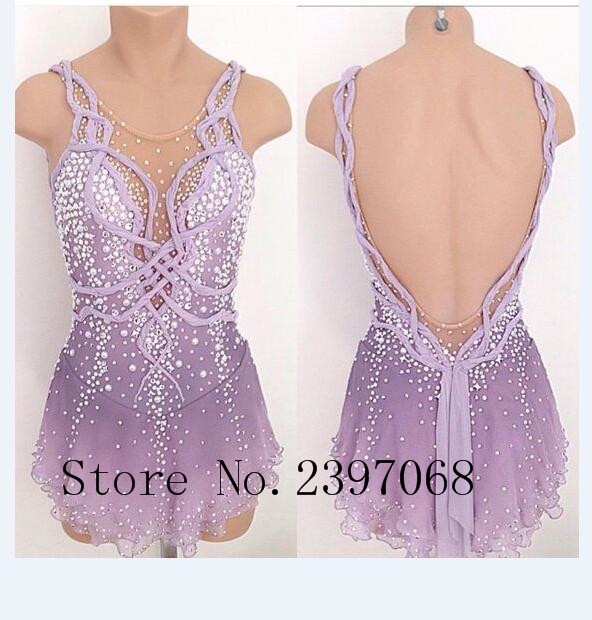 Purple Ice Skating Dress Women Competition Figure Skating Dresses Custom Crystals Ice Skating Dresses Girls Clothes B25