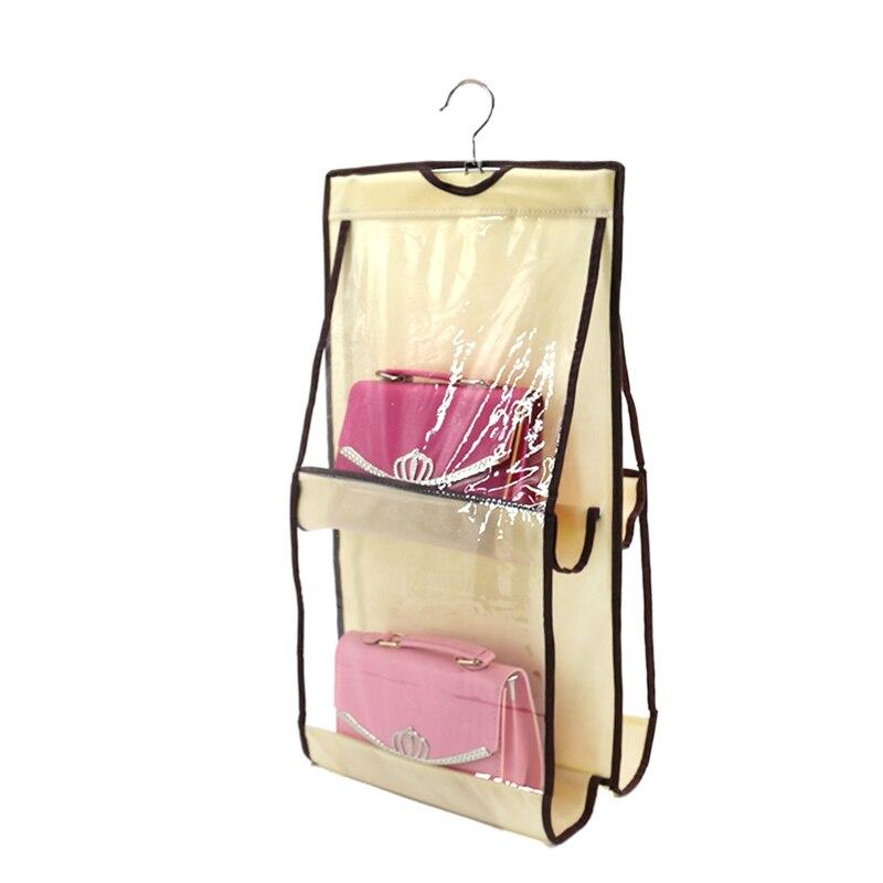 4 Pocket Organization Rack Hangers Closet Case Tidy Dustproof Hanging Women Handbag Tote Bag Purse Storage Organizers