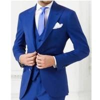 royal blue men suit slim fit wedding tuxedo custom made groomsmen suits men prom wear blazerpantsvest