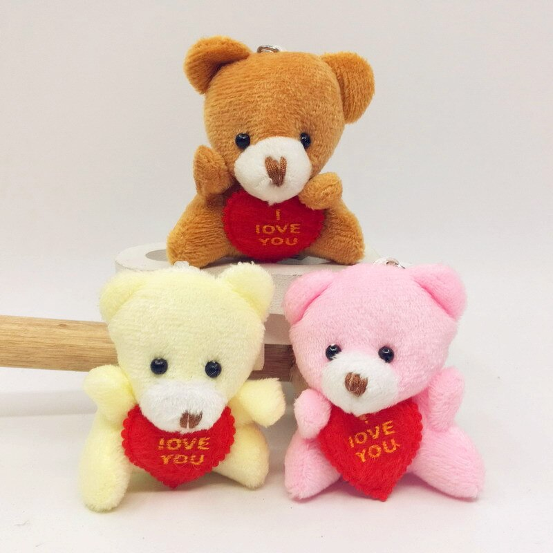 6CM I Love You Teddy Bear Stuffed Plush Toy Holding LOVE Heart Soft Gift for Valentine Day Birthday Girls' Brinquedos Keychain