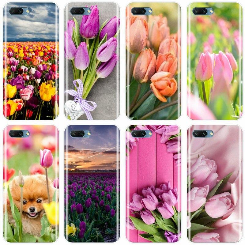 Tulipanes flor primavera campo rojo rosa amarillo Funda morada teléfono caso para Huawei MATE 7 8 9 10 20 pro Honor 8 9 10 V10 NOTE10 lite