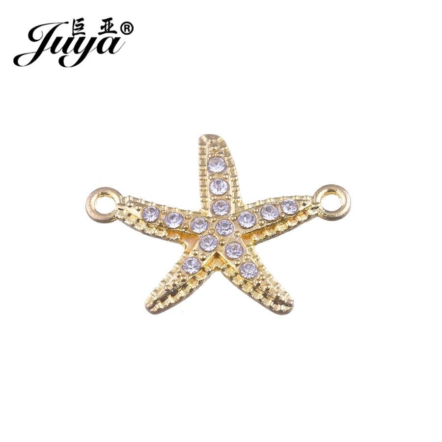 Conector de forma de estrella de mar JUYA para hacer joyería DIY 31,5x23,5mm 10 Uds Micro Pave Crystal barato conectores de colgantes de Metal CR0033