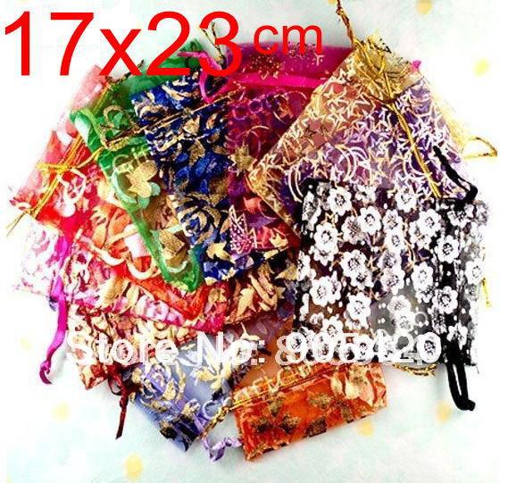OMH venta al por mayor 50 Uds. 17x23cm flores de amor corazón Rosa Navidad boda gasa bolsa de regalo Organza embalaje de joyas bolsas de regalo BZ08