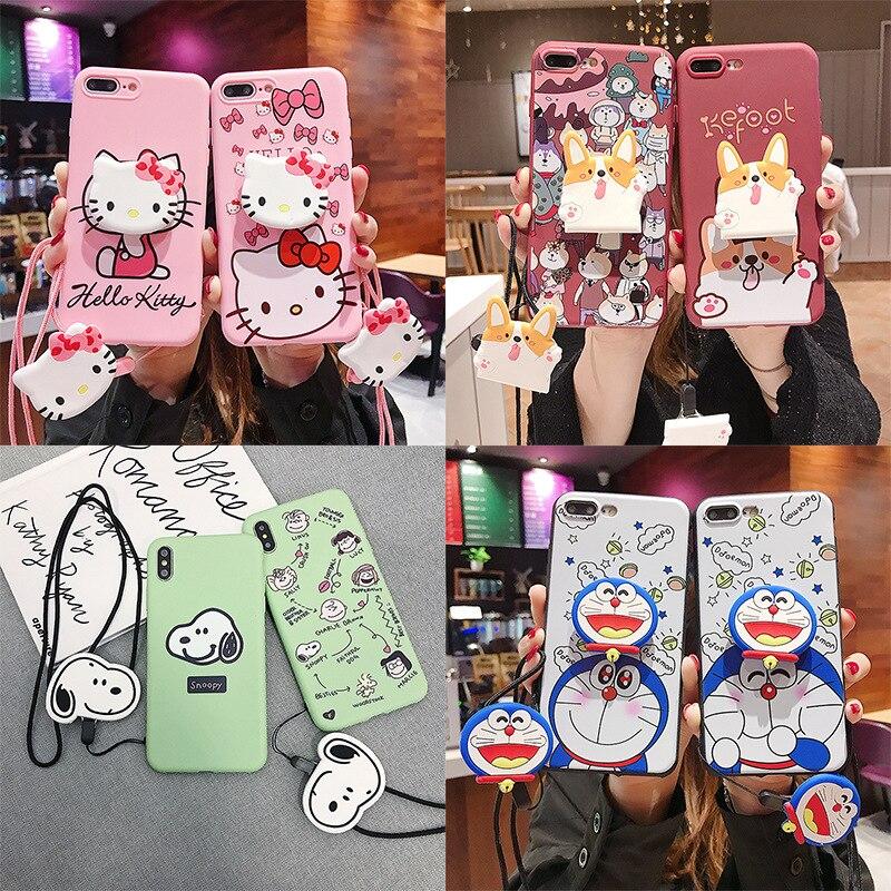 Bonito japão dos desenhos animados snoop doraemon caso de telefone para iphone 6 7 8 plus xs max xr capa traseira macia com gatinho gato suporte corda cinta
