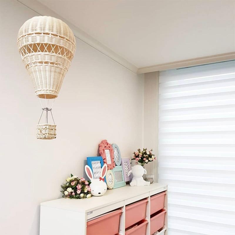زخرفة غرفة الروطان على الطراز الاسكندنافي ، بالون الهواء الساخن للتعليق على الحائط ، صناعة يدوية ، لغرفة الأطفال ، رياض الأطفال