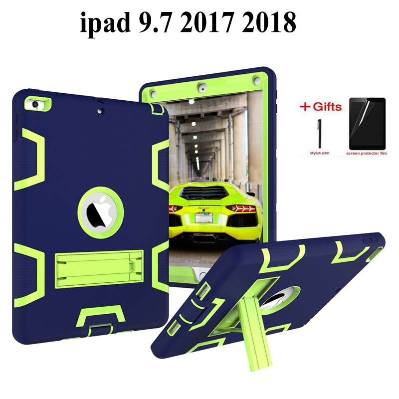 Étui résistant aux chocs pour iPad 9.7 2018 6th génération avec enfants couverture arrière en silicone pour ipad 9.7 2017 étui + cadeaux