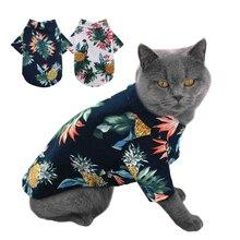 Chemise de plage dété chien   Imprimé mignon, Hawaii plage animal de compagnie chat, vêtements chiens, chemise de voyage, petit chien chat chemisier pour Pug Chihuahua