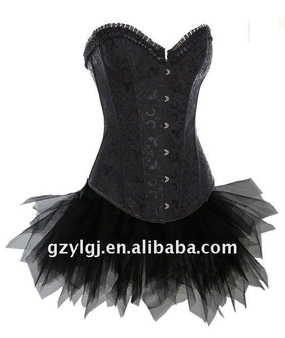 Wholesale Sexy Lingerie  fancy dress costume full steel bones black corset , skirt S,M,L,XL  2615