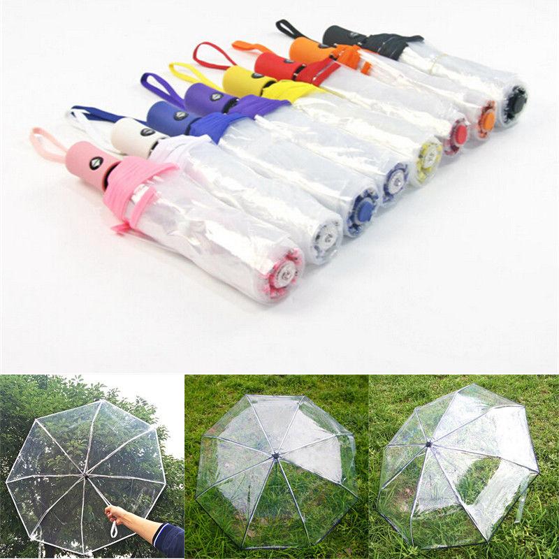 ¡Novedad de 2018! paraguas plegable abierto automático de alta calidad, paraguas compacto a prueba de viento, transparente KM