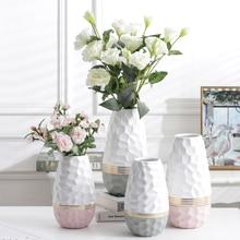 Vase de fleur en céramique plaqué or   Design ondulé 1 pièce, Vase de plantation deau, décoration de la maison, pièce centrale, cadeau de mariage
