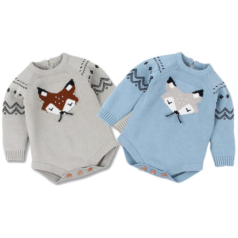 100% de punto de algodón para bebés recién nacidos, Pelele de manga larga de zorro para bebés y niñas, Pelele de punto para Navidad, mono, ropa de invierno