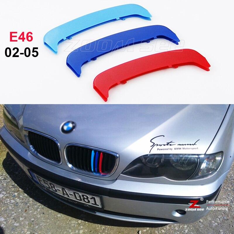 Moldura de coche de rejilla a rayas para parrilla M, pegatinas de cubierta de tiras deportivas para BMW Serie 3 2002-2005 E46 318i 320i 325i 330i 4 solo para puerta