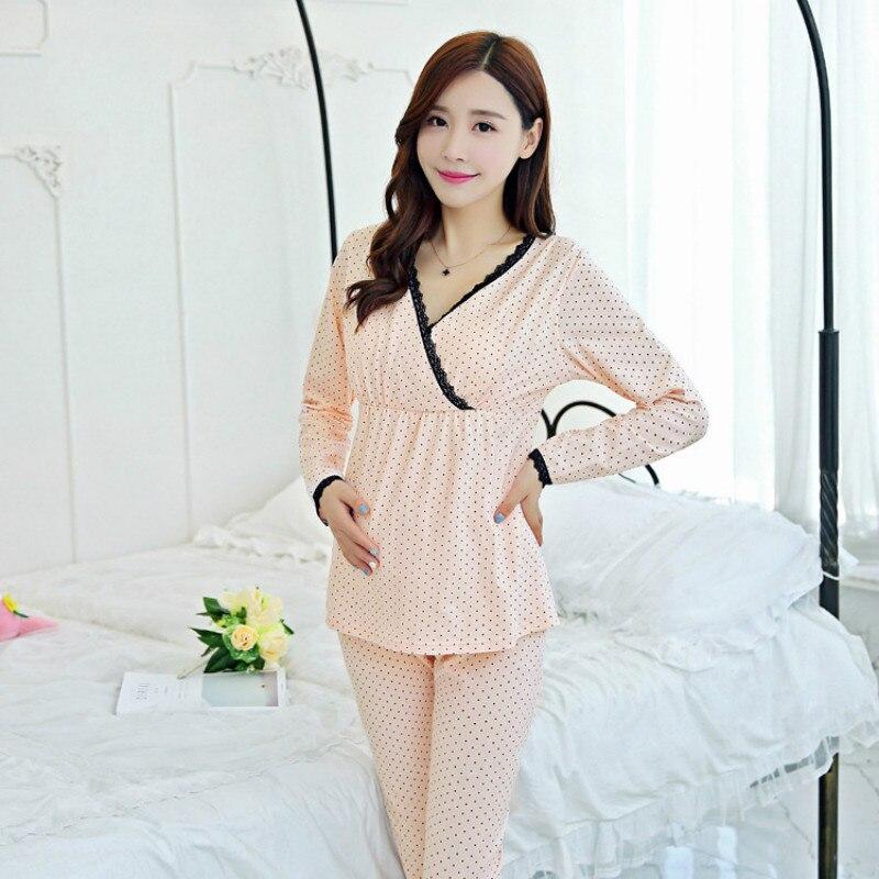 Good quality Maternity sleepwear breast Feeding Pregnant Suit Pregnant women feeding suits Postpartum maternity pajamas enlarge