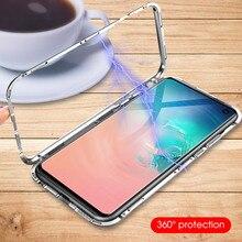 Magnétique Adsorption Métal Téléphone étui pour samsung Galaxy S10 Plus S8 S9 Plus S10Plus S10 Luxe Ultra Aimant Couverture Arrière En Verre