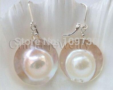 Ry00357 hermoso AAA blanco blister Mabe perla pendiente-925 gancho de plata A0422-joyería de la novia envío gratis