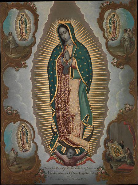 Pintura religiosa de la Virgen de Guadalupe con las cuatro prendas, pintura de arte con estampado católico sobre lienzo, buena calidad
