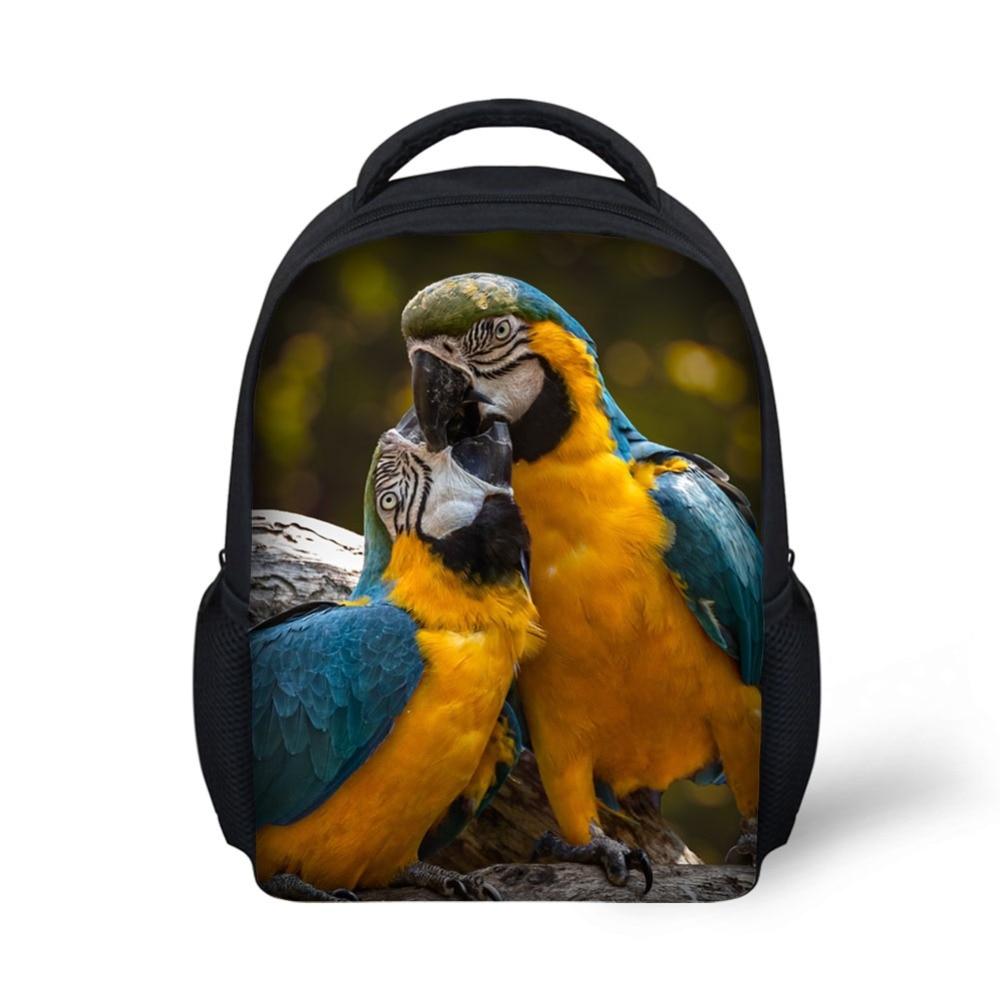 HUE MASTER Parrot Design Printed Kindergarten Backpack Boys Girls School Bag 12 Inch Light Weight Casual Book Bag