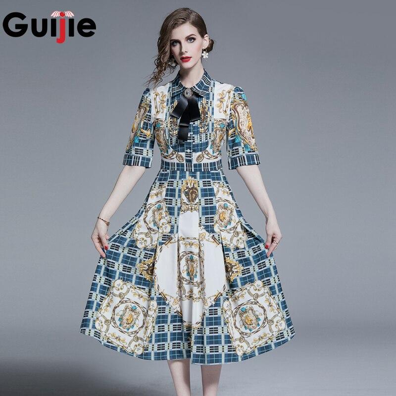 Guijie elegante Vintage patrón Plaid estampado vestido de media pantorrilla mujeres 2019 verano A-Line Casual media manga vestidos de fiesta jurken