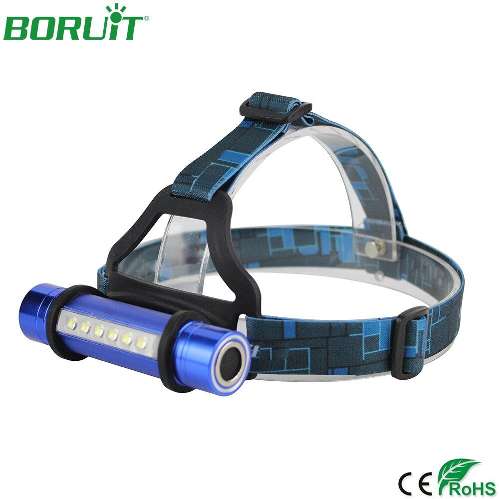 BORUiT linterna frontal LED portátil 3 modos impermeable al aire libre Camping linterna de cabeza 18650 lámpara de pesca de caza nocturna