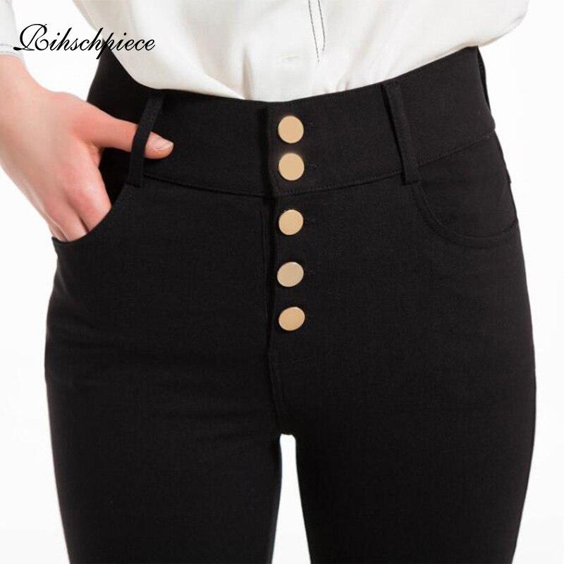 Rihschpiece, mallas de talla grande 6XL, pantalones de cintura alta para mujer, Jeggings Punk negros, mallas de realce, pantalones ajustados de bolsillo RZF1608
