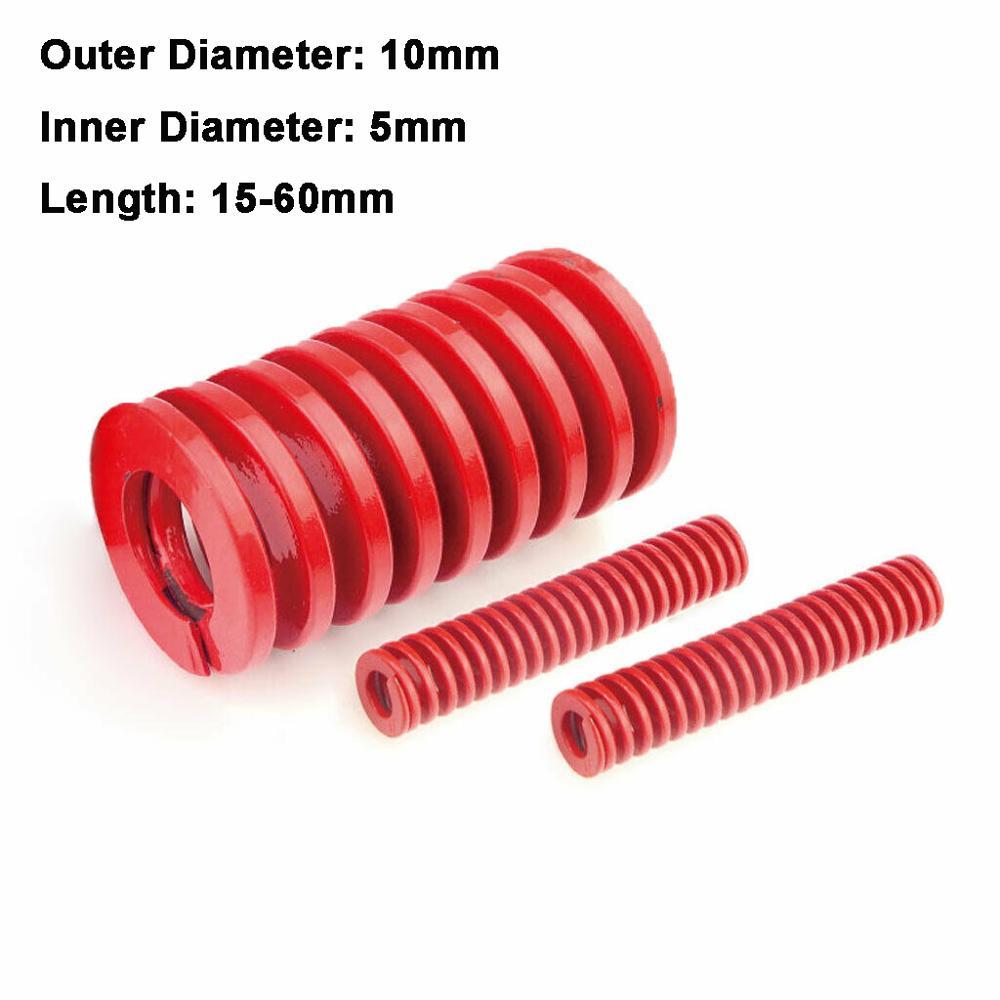 2Pcs Red Medium Load Compression Spring Loading Die Mold Spring Outer Diameter 10mm Inner Diameter 5mm Length 15-60mm