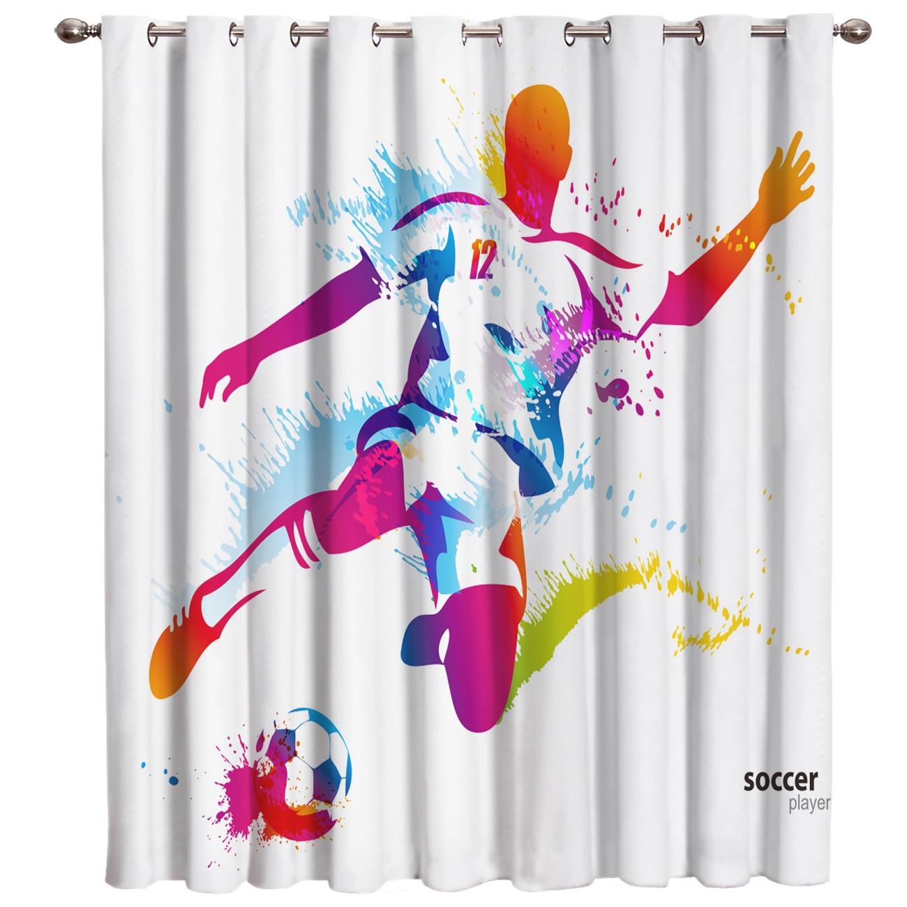 Soccer Sport Rainbow Athletes Color Art Design 3D Window Curtains for Living Room Bedroom Kitchen Cortinas Para Sala De Estar