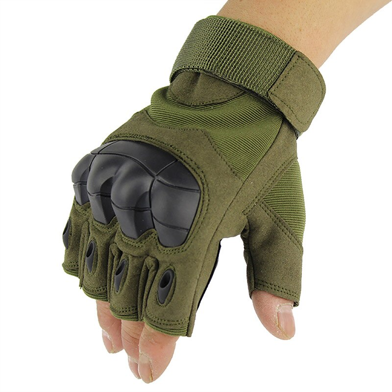 Luvas de acampamento caminhadas macio metade do dedo luvas táticas militar anti-skid borracha duro luvas de junta paintball alta qualidade