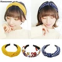 2019 fashion sweet knot hairbands headbands for women girls hair bezel print no slip wide elastic hair band hair accessories