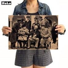 Segunda guerra mundial foto poster vintage papel kraft antigo arte da parede artesanato adesivo sala de estar pintura barra café decoração 42x30cm ggb079