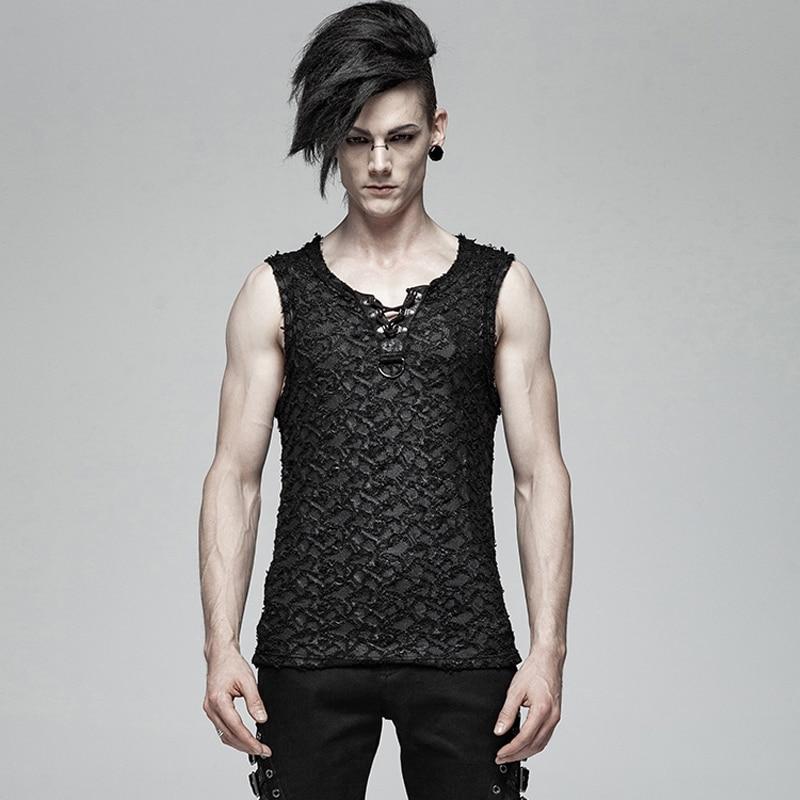 PUNK RAVE Men Punk Rock Streetwear Cool Vest Fashion Gothic Style Sleeveless Summer Tank Tops