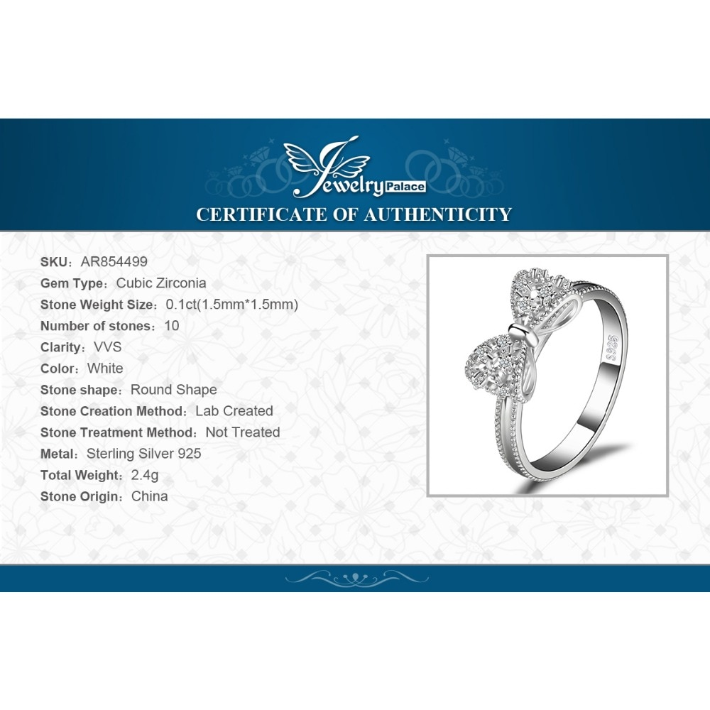 Купить с кэшбэком JewelryPalace Bow Knot 925 Sterling Silver Cubic Zirconia Ring Stakable Korean Finger Butterfly Rings Women Girl Fashion Jewelry