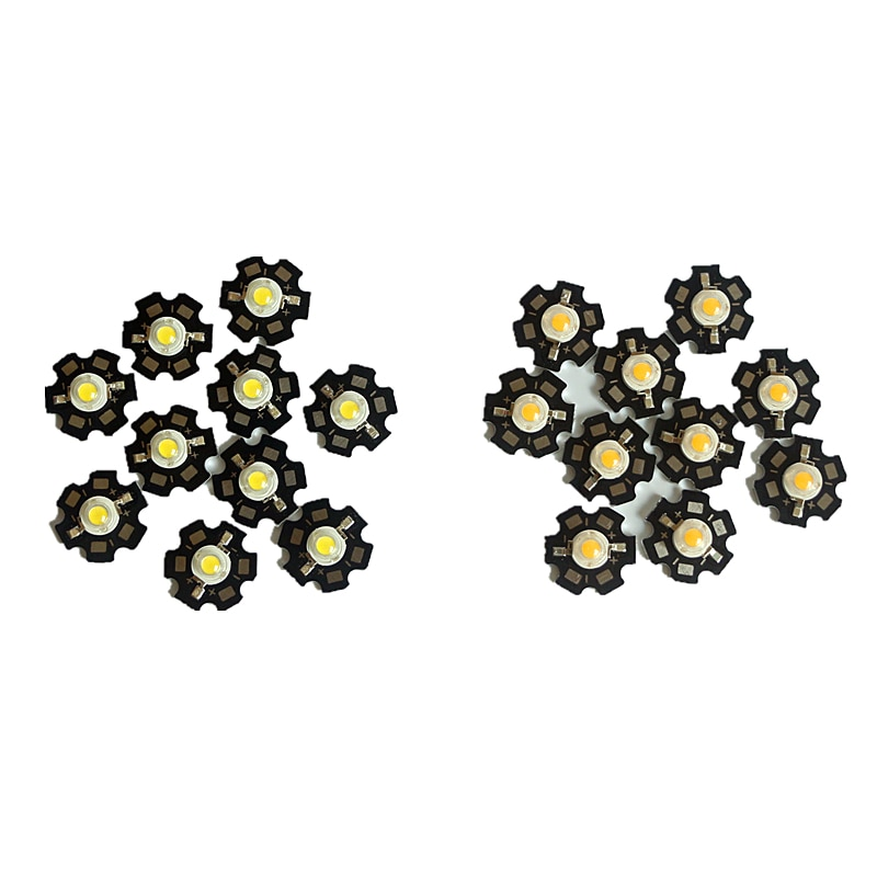 10-1000 unids/lote de alta potencia 1W 3W LED lámpara Chip blanco frío blanco cálido COB SMD bombilla de diodo de luz LED + 20mm estrella PCB disipador de calor platino