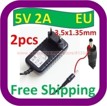 2 pcs Free Shipping 5V DC 2A 2000mA AC Adapter 3.5mm x 1.35mm EU plug Home Wall Charger Power Supply Cord