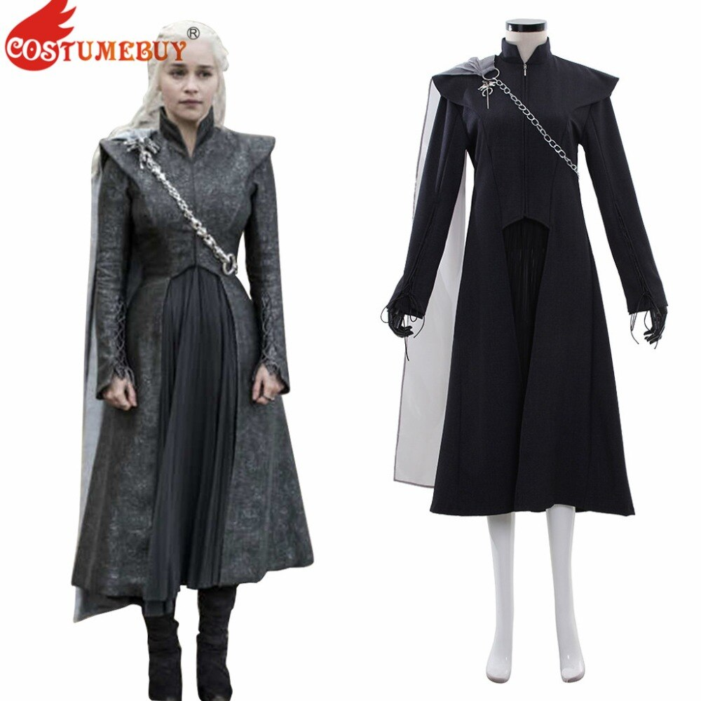 7 CostumeBuy Temporada de Game of Thrones Daenerys Targaryen Manto Traje Cosplay Daenerys Targaryen Dragão Mulheres Fancy Dress Suit