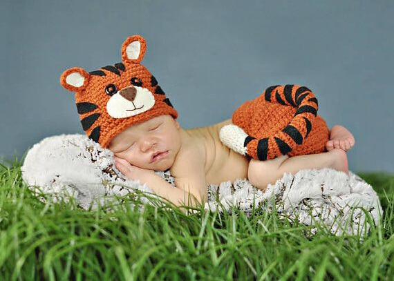 Envío Gratis, accesorios de fotografía de ganchillo recién nacido gorra de tigre recién nacido y cubierta de pañal conjunto bebé animal gorro sombreros tamaño 0-1 m, 3-4m