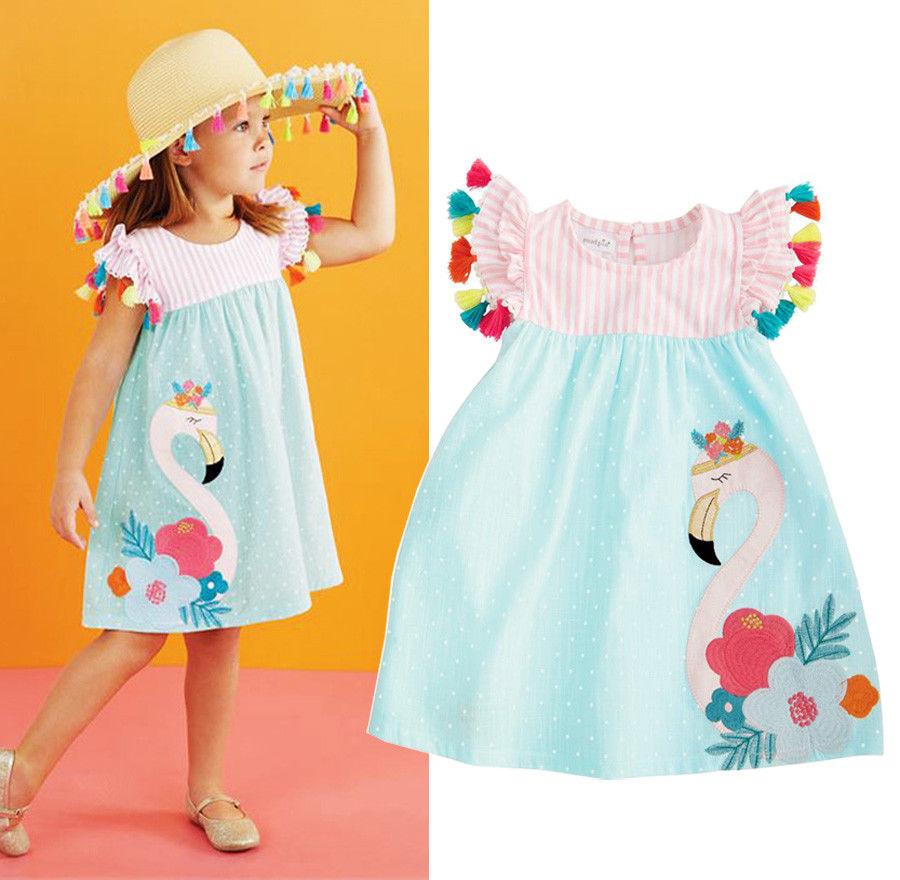 Новинка 2020 года; Симпатичная Цветная кисточка для малышей; Платье с лебедем для маленьких девочек; Летнее повседневное пляжное платье без рукавов; Pudcoco