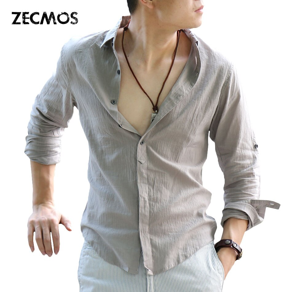 Zecmos Baumwolle Leinen Shirts Mann Sommer Weißes Hemd Sozialen Gentleman Shirts Männer Ultra Dünne Beiläufige Hemd Britischen Mode Kleidung
