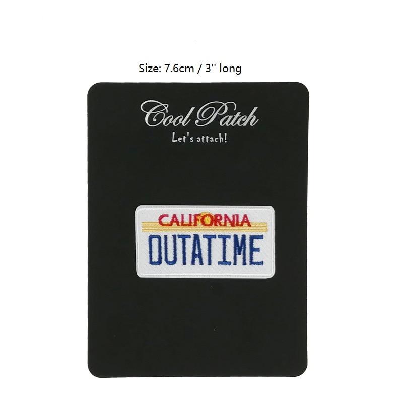 Voltar ao futuro califórnia outatime bordado ferro na máquina de logotipo remendo capacitor fluxo deloreano