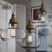 Lampe de plafond en verre, Mini abat-jour en verre transparent suspension éclairage industriel fixation cuisine Island Bar hôtel Shop lampe de plafond en bois Antique