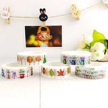 15mm X 7 m japonais Washi ruban décoratif bricolage Scrapbooking bureau papeterie ruban Kawai décoratif autocollant Adesivo etichetta