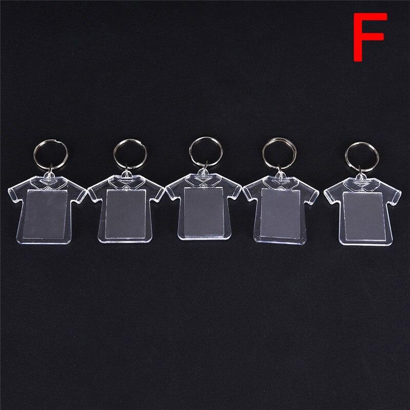 Llavero con marco de foto en blanco en acrílico transparente rectangular, llavero DIY con anillo dividido para regalo, 5 uds.