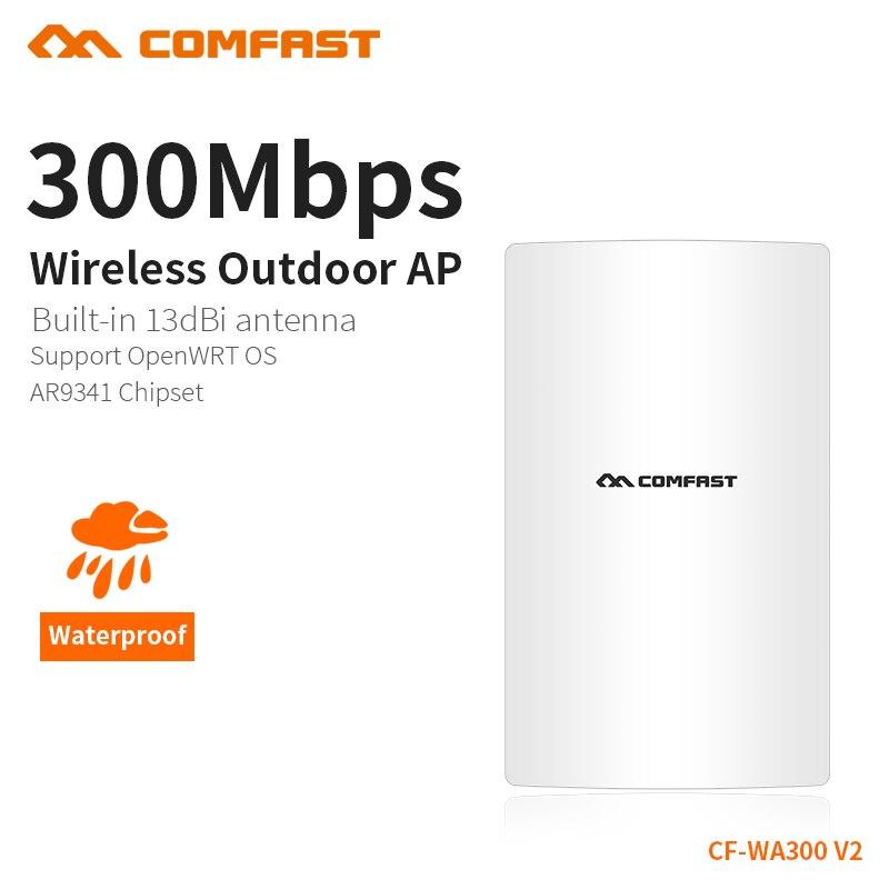 Punto de Acceso COMFAST al aire libre 300Mbps 2,4 Ghz Wifi Punto Caliente amplificador resistente al agua Wifi Router construido en Watchdog Chipset CF-WA300V2