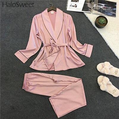 Pijama HaloSweet Slik para mujer, traje de Pijama para mujer, lencería negligé Sexy, ropa de hogar para mujer, traje para casa de dos piezas