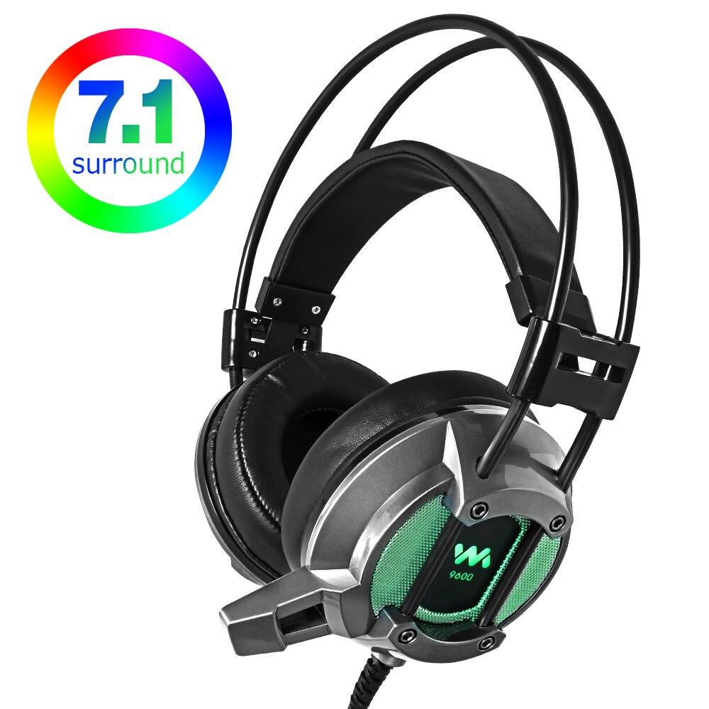 Auriculares para juegos profesionales con cable USB LED 7,1, auriculares de Sonido Envolvente Virtual con micrófono para PC y Gamer