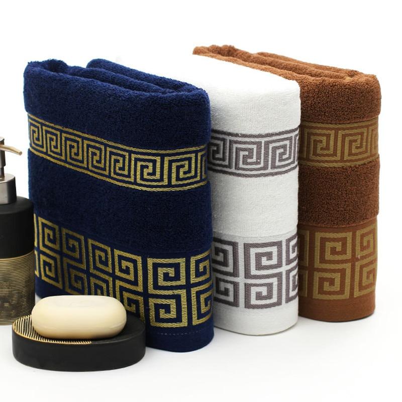 Luxury Premium Bath Towel Golden Thread Embroidery Cloud Pattern Orient Style 100% Combed Cotton Sauna Shower Beach Towels